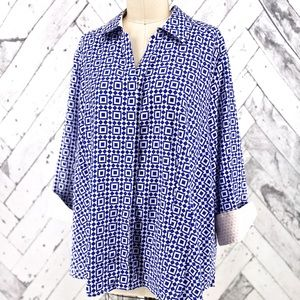 Foxcroft Button Front Top
